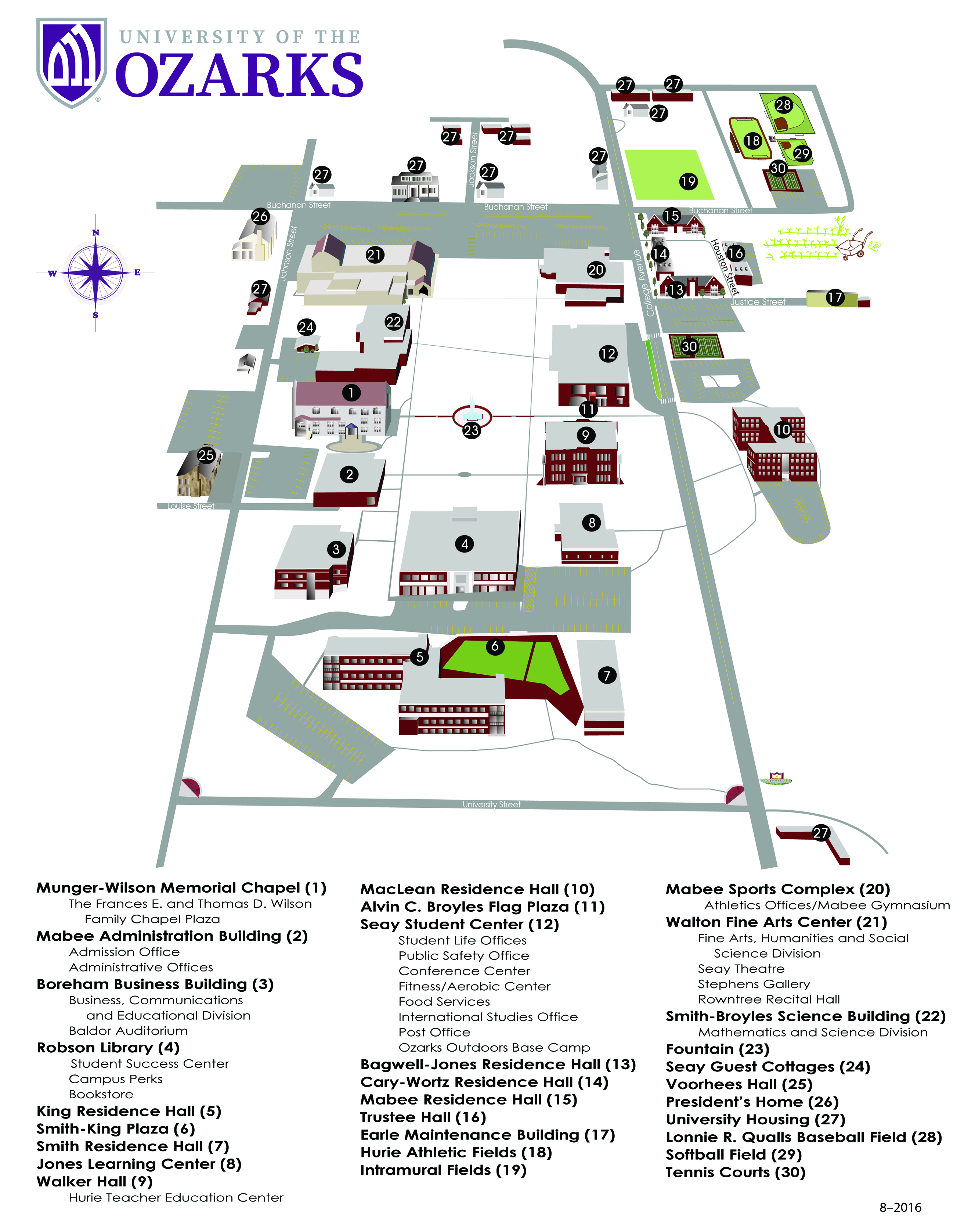 University Of The Ozarks Campus Map
